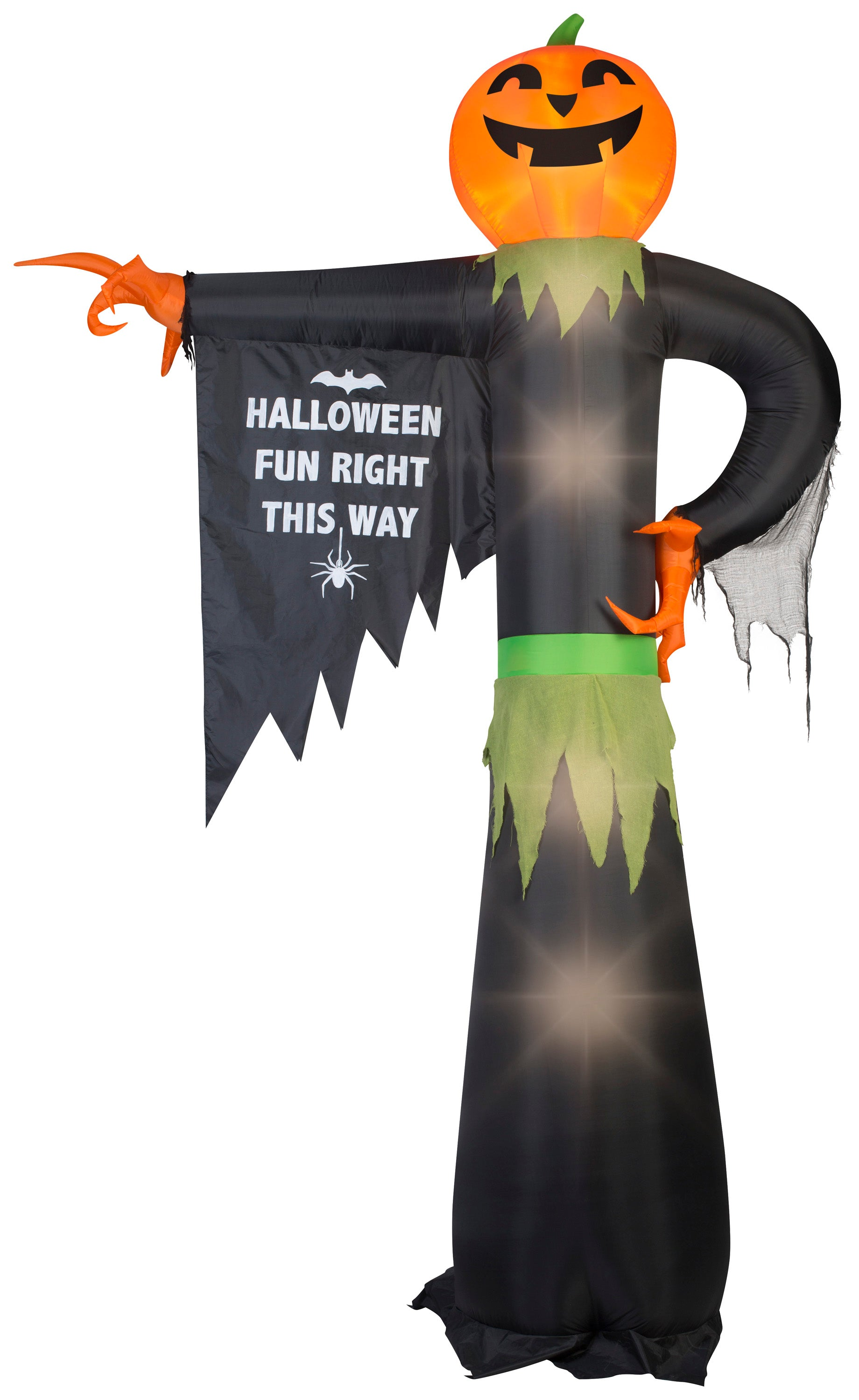 12' Airblown-Pointing Pumpkin w/ Sign Halloween Inflatable