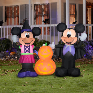 5.5' Wide Airblown Mickey and Minnie w/Pumpkins Scene Disney Halloween Inflatable