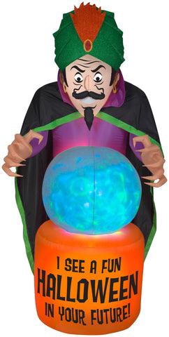 7.5' Projection Airblown Fire & Ice Fortune Teller Halloween Inflatable