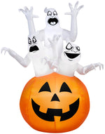 Load image into Gallery viewer, 6' Airblown Three Ghosts in Pumpkin Halloween Inflatable