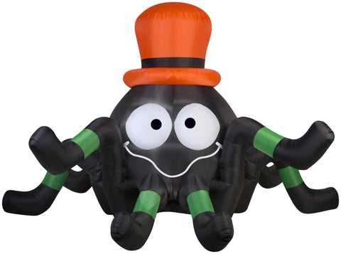 6' Wide Airblown Spider with Orange Hat Halloween Inflatable
