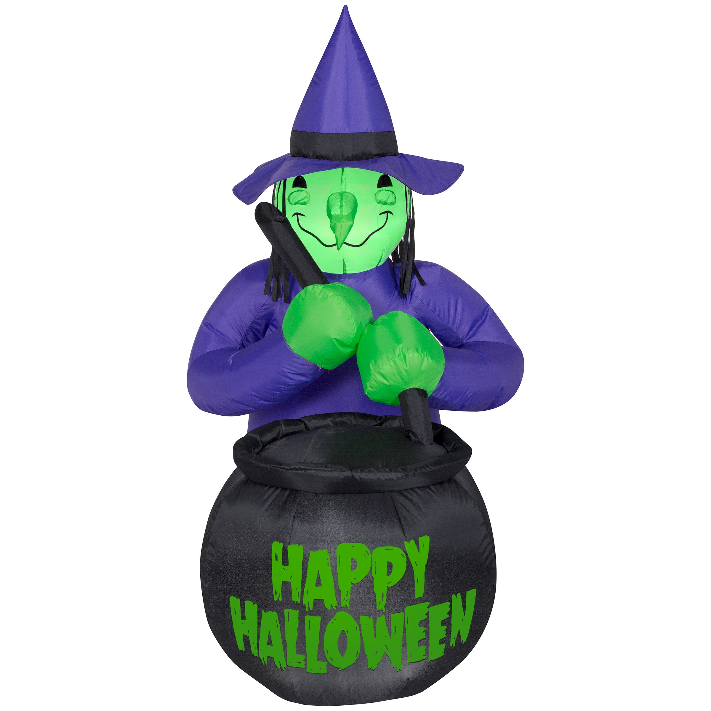 Gemmy Airblown Inflatable Witch with Caldron Happy Halloween Decorations