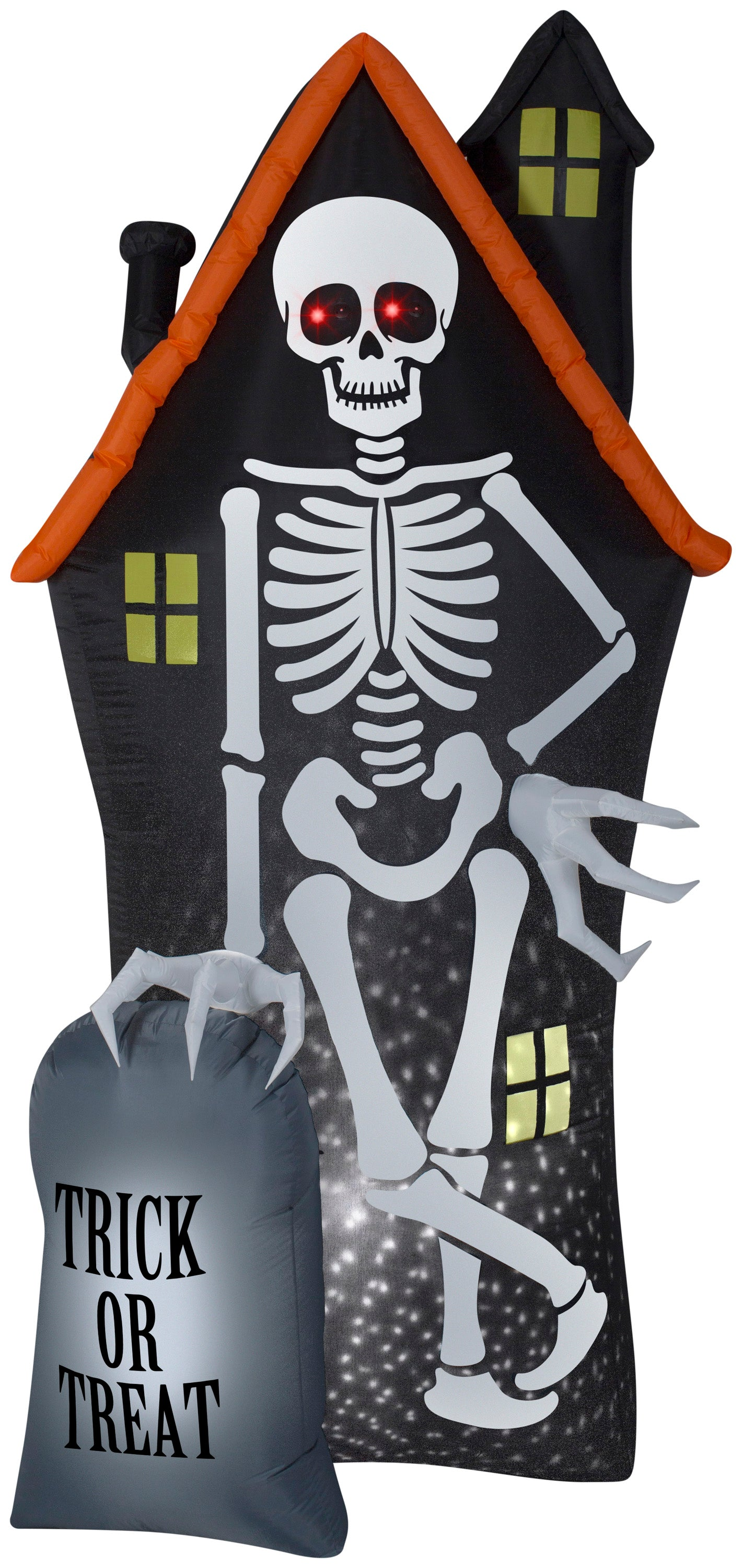 8' Projection Airblown Skeleton and Haunted House Tombstone Scene Halloween Inflatable