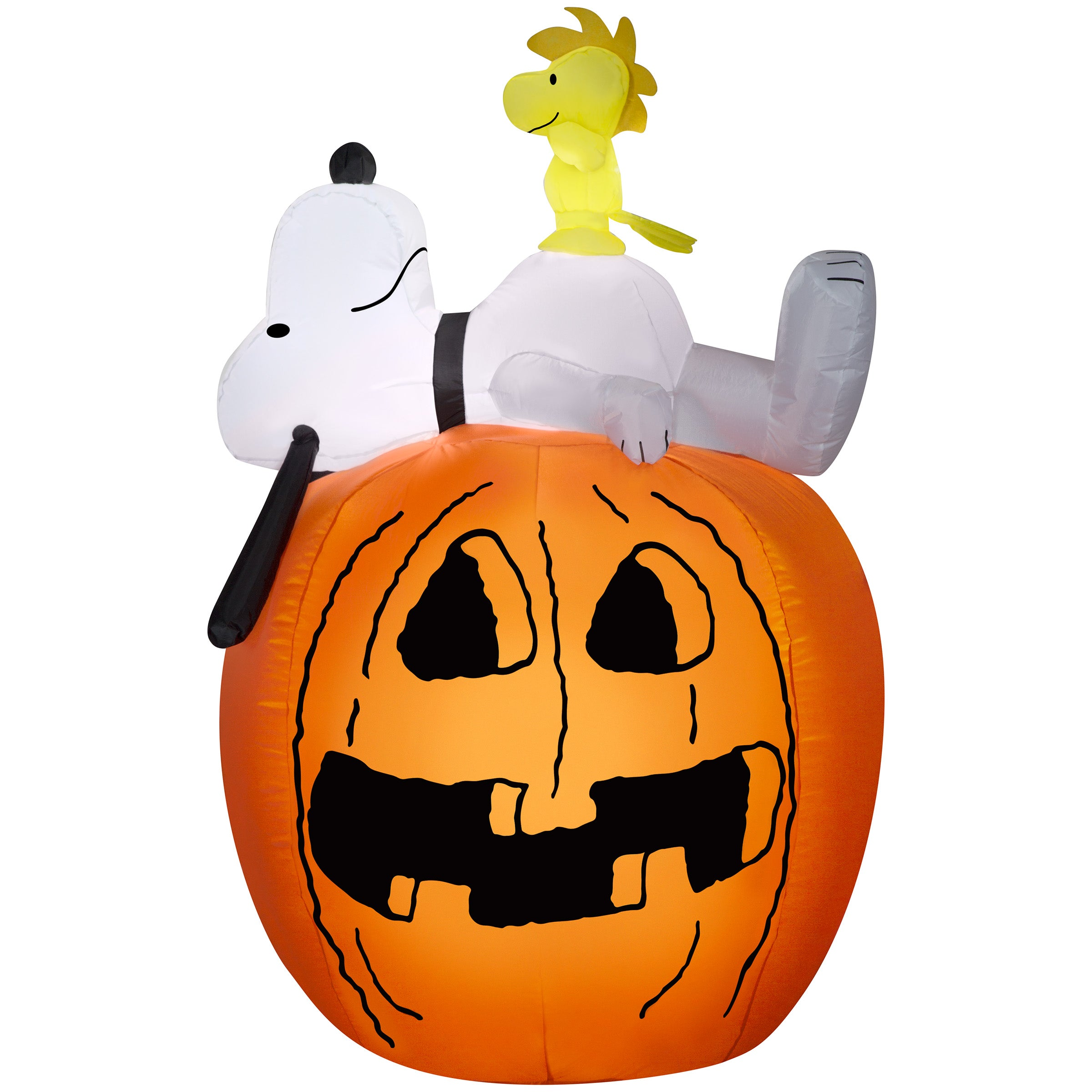 Gemmy Inflatable Halloween Yard Decoration Snoopy Woodstock Pumpkin Lighted Airblown 4.5 Foot