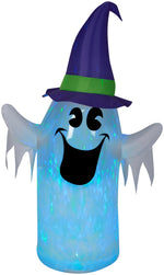 Load image into Gallery viewer, 6' Kaleidoscope Ghost Wearing Witch Hat Halloween Airblown Inflatable