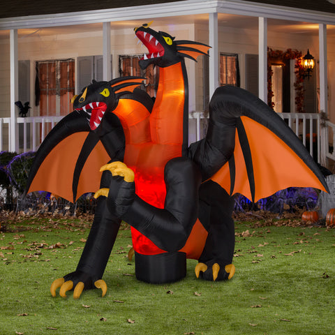 11' Wide Animated Projection Airblown Fire & Ice Two Headed Dragon Halloween Inflatable