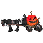 Load image into Gallery viewer, 14 ft. Projection Inflatable-Fire and Ice Grim Reaper Carriage Outdoor Yard Halloween Decor