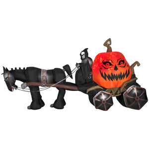 14 ft. Projection Inflatable-Fire and Ice Grim Reaper Carriage Outdoor Yard Halloween Decor