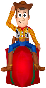 5.5' Airblown Toy Story Woody on Present Disney Christmas Inflatable