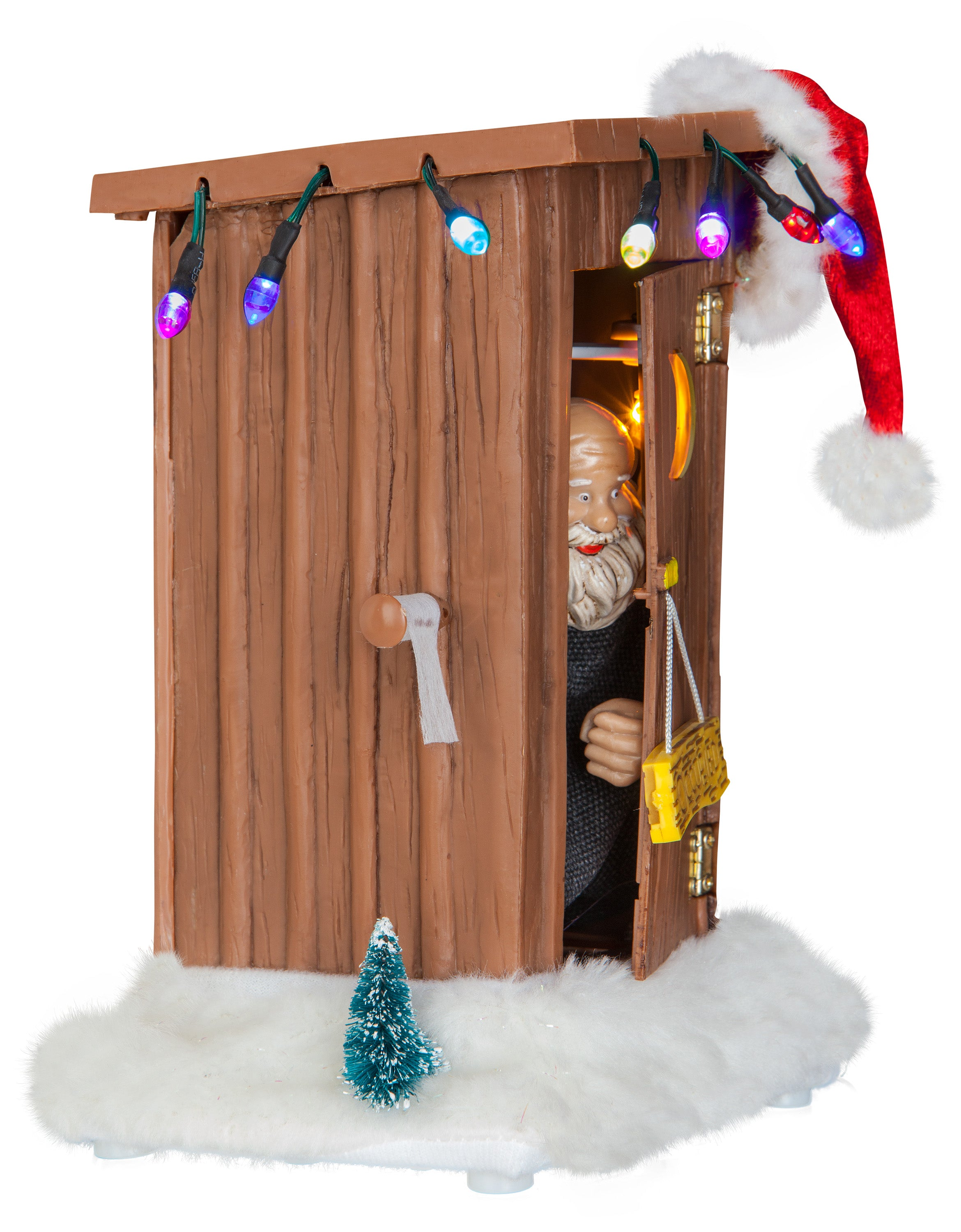 Gemmy Animated Outhouse w/Santa Claus Brown, brown