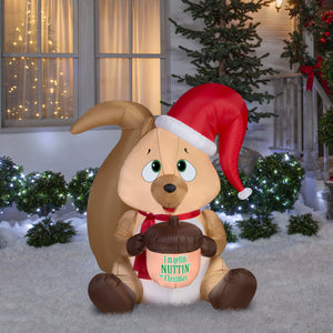 5' Airblown Squirrel w/ Acorn Christmas Inflatable