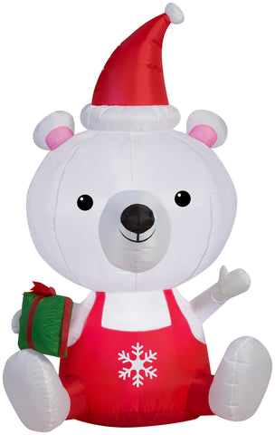 5' Airblown Big Head Polar Bear Christmas Inflatable