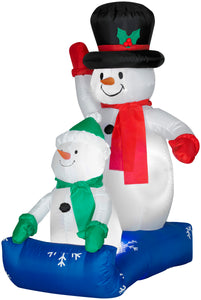 4' Airblown Father Snowman and Child Christmas Scene
