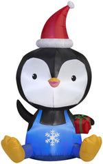Load image into Gallery viewer, 5' Airblown Big Head Penguin Christmas Inflatable