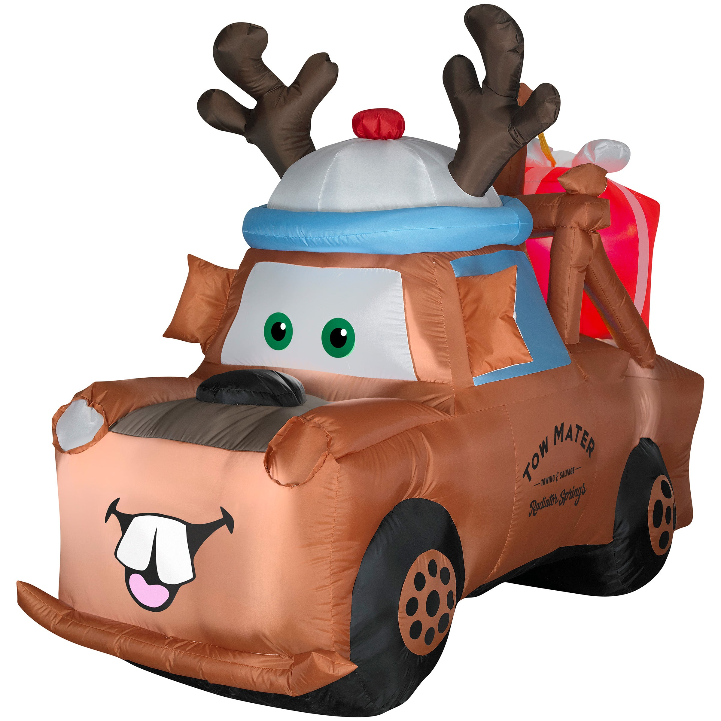 6' Airblown Lighted Mater with Reindeer Hat and Present