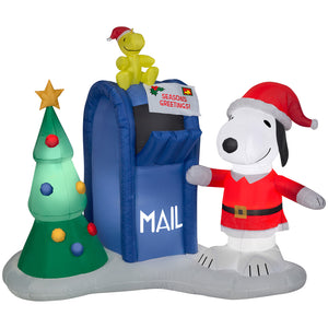 6.5' Airblown Snoopy and Woodstock w/Mailbox Scene Peanuts Christmas Inflatable