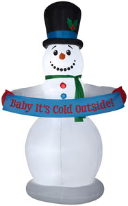 8' Animated Airblown Snowman w/Banner Christmas Inflatable