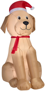 6' Airblown Golden Retriever Christmas Inflatable