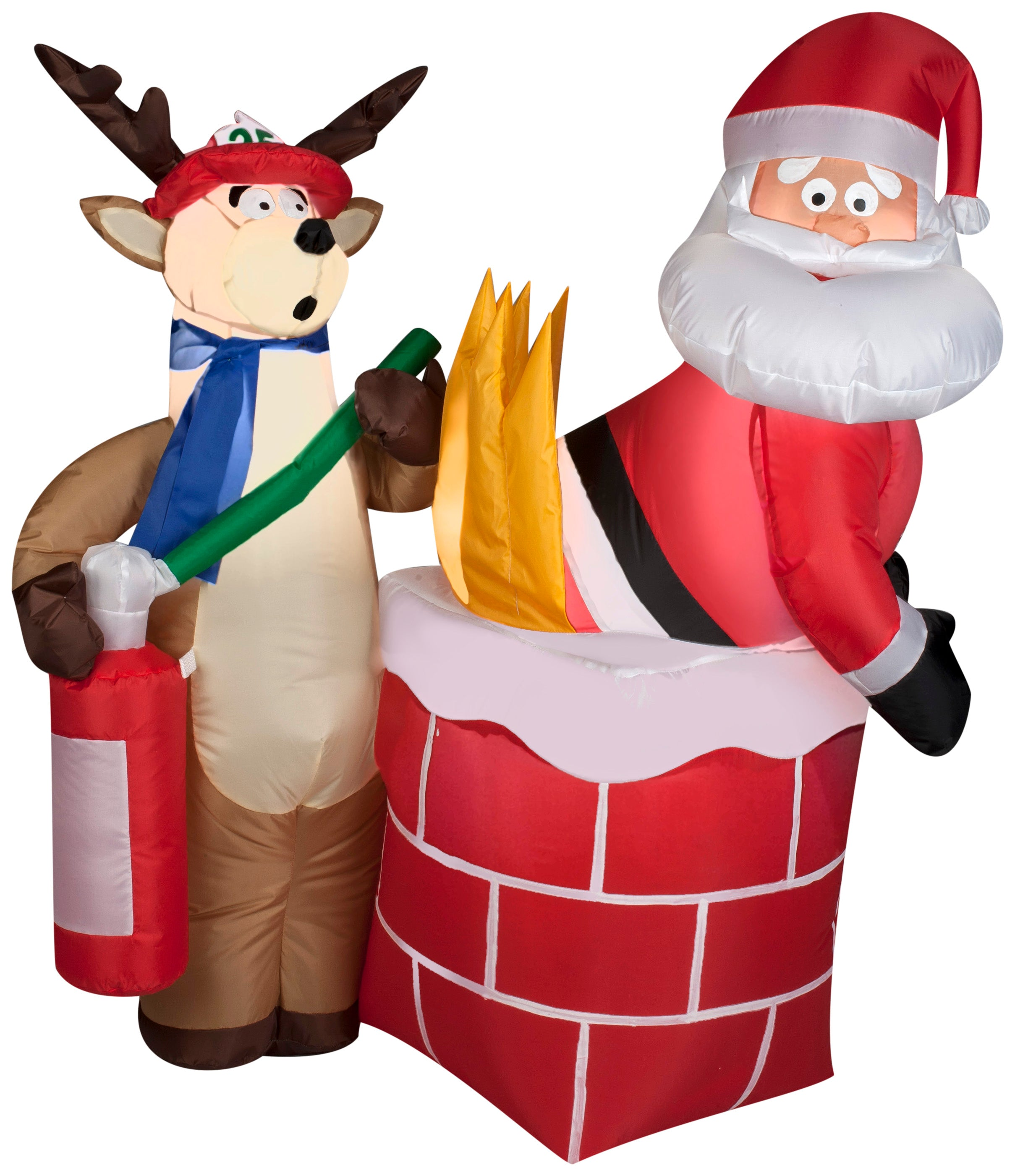 4' Airblown Santa on Fire Christmas Inflatable
