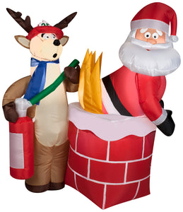 4' Airblown Santa on Fire Comical Christmas Inflatable