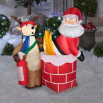 Load image into Gallery viewer, 4' Airblown Santa on Fire Christmas Inflatable