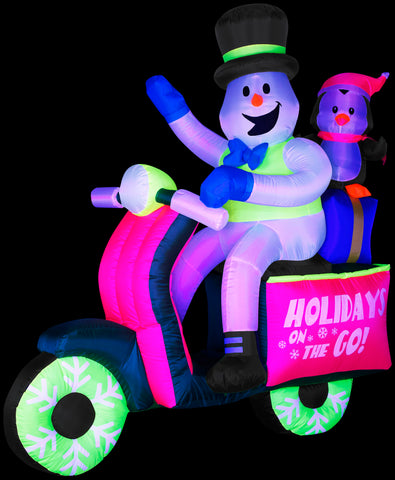 5.5' Neon Snowman Riding Scooter Christmas Inflatable