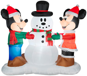 6' Airblown Mickey and Minnie Decorating Snowman Scene Disney Christmas Inflatable