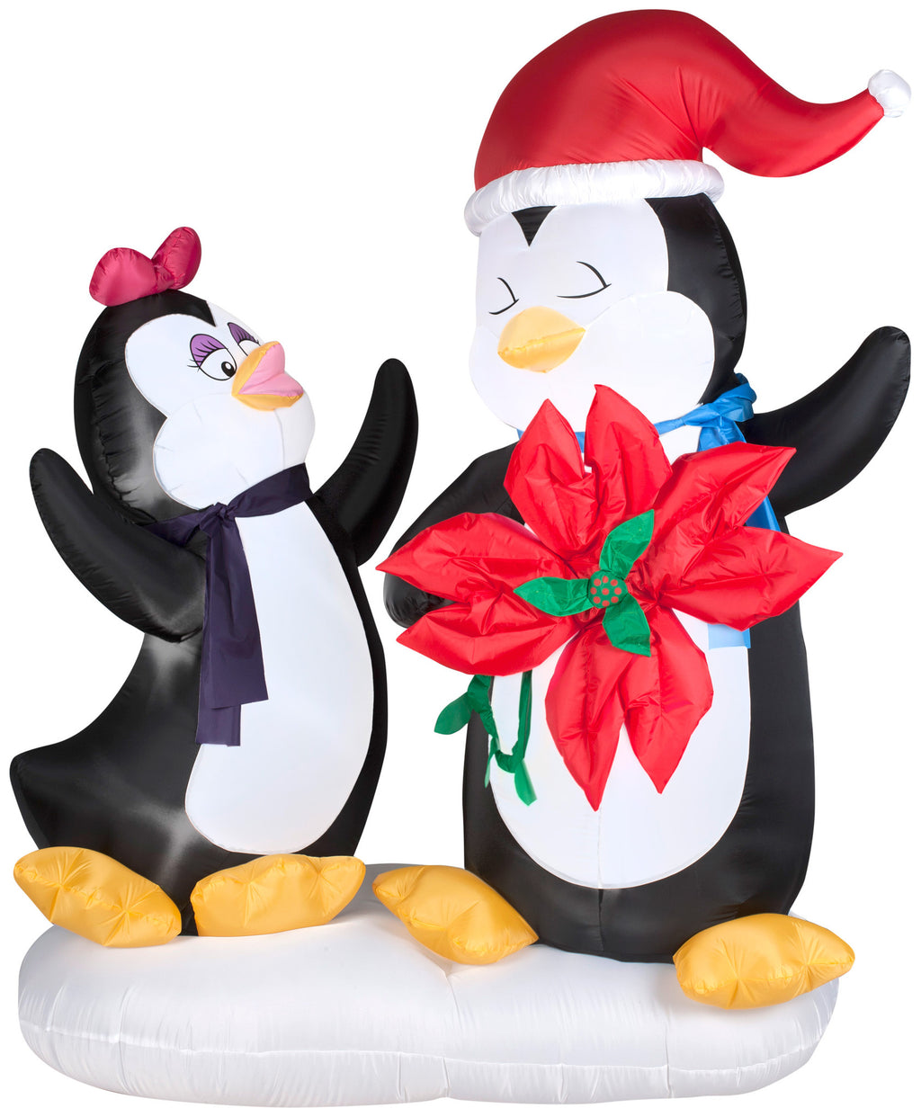 two penguins with flower airblown