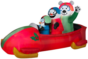 7' Animated Airblown Inflatable Penguin with Snowman on Bobsled