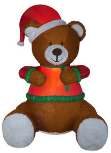8.5' Animated Airblown Mixed Media Hugging Teddy Bear w/ Santa Hat Christmas Inflatable