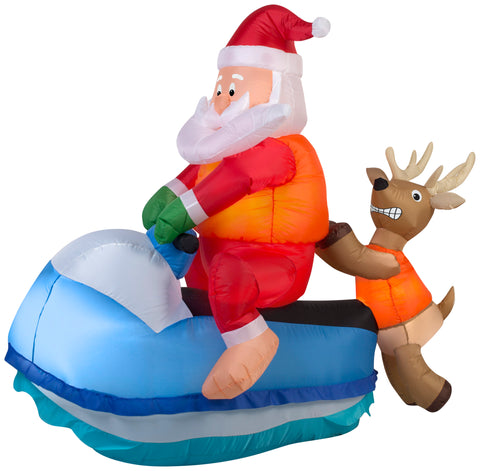 5' Airblown Santa on Jet Ski Scene Christmas Inflatable