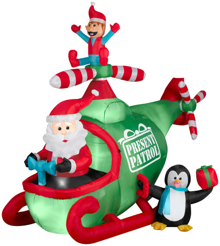 7.5' Wide Animated Airblown Helicopter Christmas Inflatable