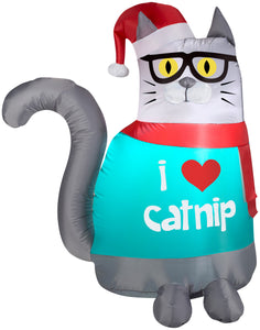3' Airblown Outdoor Christmas Nerdy Cat Christmas Inflatable
