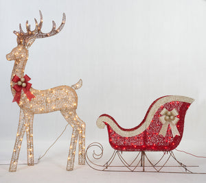 Set Of 2 UL Buck And Sleigh Sculpture