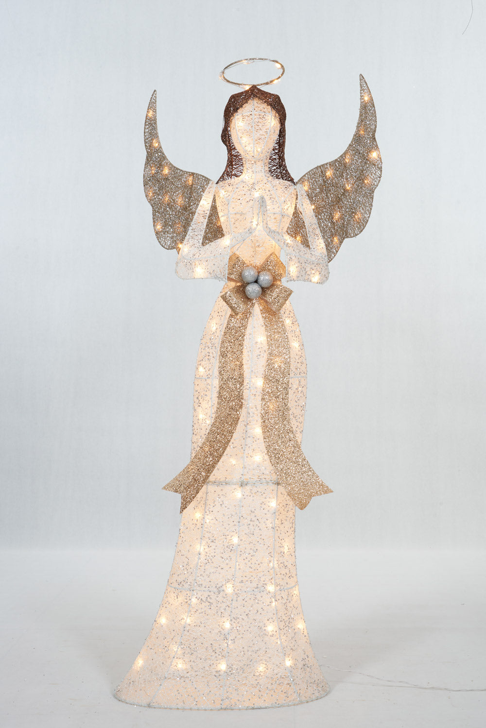 "60"" UL Glittering Thread Praying Angel Sculpture"