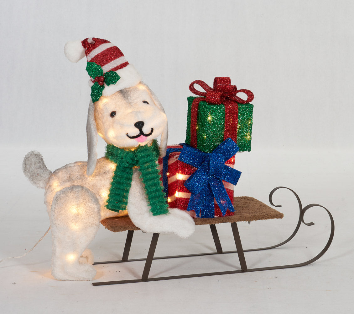 "31-1/2"" UL Plush Dog And Sleigh Sculpture"