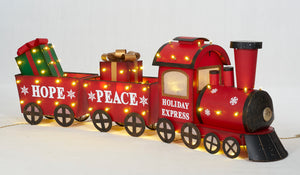 Set Of 3 UL LED Train Sculpture