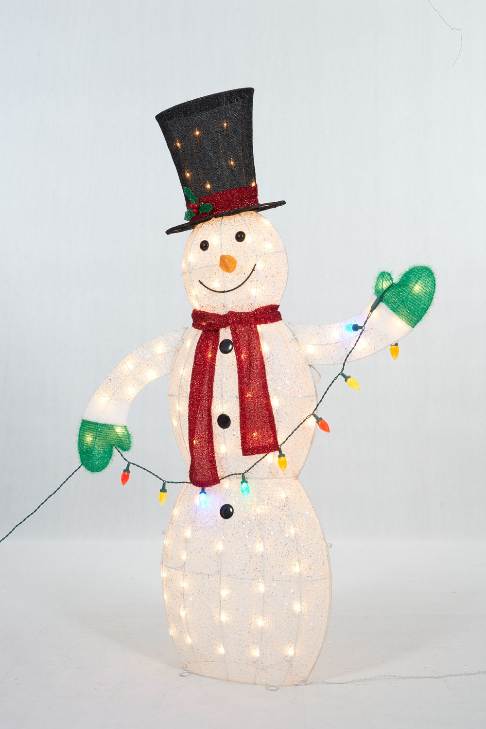 "62"" UL Snowman With String Lights Sculpture"