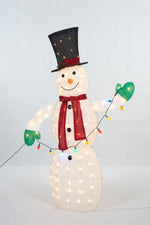 "Load image into Gallery viewer, 62"" UL Snowman With String Lights Sculpture"