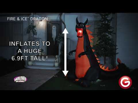 7.5' Wide Projection Airblown-Fire & Ice-Dragon w/ Flaming Mouth (RRY)
