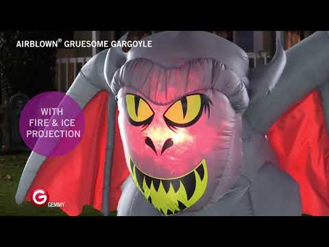 5' Airblown Fire & Ice Gruesome Gargoyle Halloween Inflatable