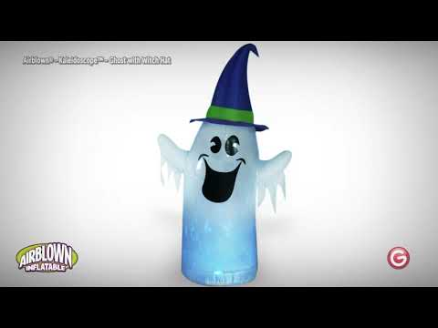 6' Kaleidoscope Ghost Wearing Witch Hat Halloween Airblown Inflatable