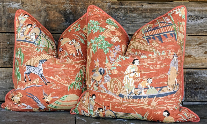 thibaut fishing village // tribal pillows // chinoiserie