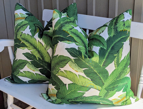 Banana leaf Palm print pillow cover // tommy bahama