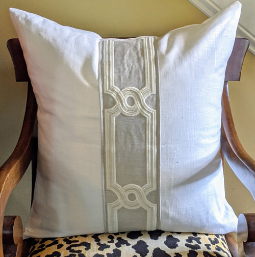 custom design // pillows with tape // neutral decor