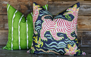 clarence house tibet tiger // chinoiserie pillow // tiger