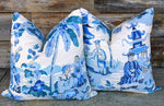 knife edge // brunschwig & fils xian // asian scenes // chinoiserie pillows