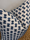 feefee // blue and white textured pillow // indoor outdoor