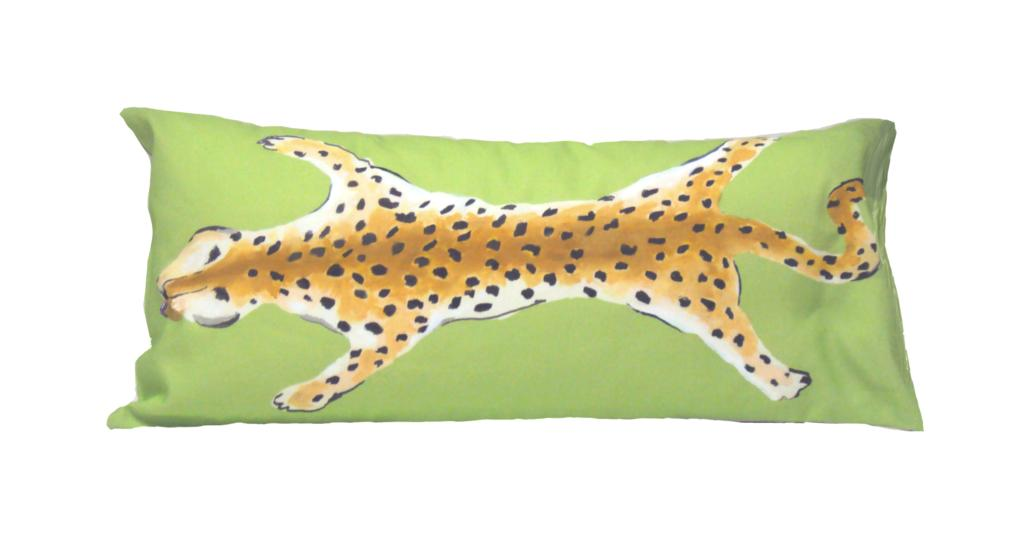 lime green leopard lumbar pillow // dana gibson // leopard pillow