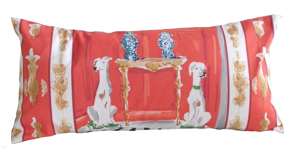 Dana Gibson dog lumbar pillow // dana gibson // leopard pillow